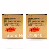 2PCS 2450mah Golden Business Rechargeable Li-ion Gold Battery Batteria Batterie Batterij For Samsung Galaxy S3 Mini I8190