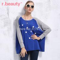 Free Shipping r14A2535 Sweet Women's Tops Medium-long Plus Size Loose T-shirt Flower Applique Bat Wing Sleeve Oversize T-shirt