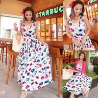 2014 new fashion women's summer floral print v neck bohemian style long beach dresses ladies sexy sleeveless maxi casual dress