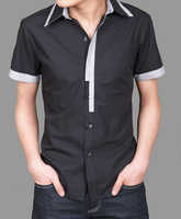 2014 summer commercial slim men's clothing short-sleeve shirt black and white short-sleeve casual male shirt