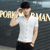 HOT  FREE SHIPING 2014 summer non-mainstream personality dot 100% cotton stand collar male short-sleeve t-shirt 1111-t093p30
