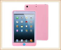 DHL free shipping Chocolate Bean Flexible Silicone Case with Soft Home Key Button for iPad mini  for ipad 4 3 2