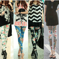 2014 NEW fashion Women's fashion printed modal leggings render pants capris 4 styles free size free shipping