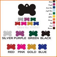 New Arrival Pet Products 38*25MM 10pcs/lot Mix Colors Aluminum Alloy Dog Bone Shape Pet tags Puppy Dog Cat ID Tags Free Shipping