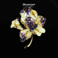 Fashion Canada Brooches Purple Cubic Zirconia Maple Leaf Broach For Women Enamel Brooches and Pins Wholesale Beautyer J1360202