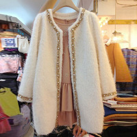 S-XL Retail Fashion Beading Brand New women wool overcoat mid-long oversize thick winter coat woolen outerwear white