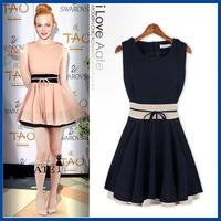 2014 spring and summer fashion color block decoration slim waist short design ruffle dress free shipping