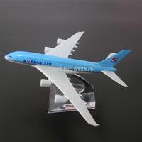 Korean Air airbus A380 FJ0015 free shipping 16cm length 1:500 alloy emulational white blue plane model