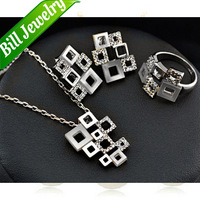 Free Shipping Wholesale Lots New Arrival Fashion Square Joint Rhinestone Pendant Necklace Earrings Ring Jewelry Sets