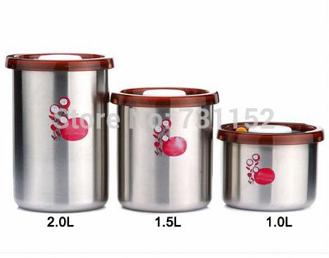 Início utensílios de cozinha aço inoxidável 1.0L sílica vácuo fresco vasilha de armazenamento pode(China (Mainland))
