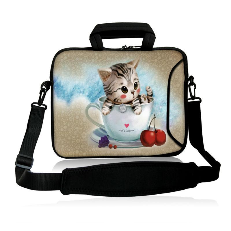cutecat and cup design Ultrabook Shoulder Messenger Bag Laptop Computer Carrying Case Notebook Handbag For Macbook Air SamsSung(China (Mainland))