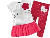 1 Set Retail 2013 New 100% cotton kids clothing set, T-shirt+ dot pant, hello kitty children set, 2 colors available