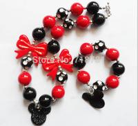 Lovely Minny&Mickey pendant chunky jewelry set,kid baby bubblegum beaded necklace&bracelet for child girl jewelry set!Hoting!!