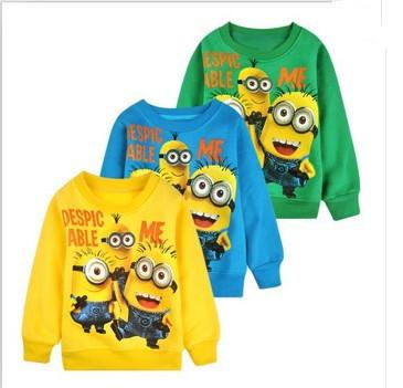 Free shipping 2014 New baby boys girl Cartoon design round minion collar fleece children wear t-shirts Children's clothesATX014(China (Mainland))