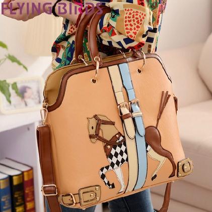 FLYING BIRDS! Free shipping 2014 carton cute pony women leather handbag messenger shoulder Bag purse LS3081(China (Mainland))
