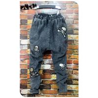 Middle Low Level Denim Jeans Harem Hip-hop Drop Crotch Pants Big Skull Personality New Arrival Korean Design Trousers Male