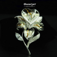 Fashion Black Rhinestone Flower Bouquet Brooch White Gold Plated Brooch Pin Enamel Brooches and Pins Wholesale Beautyer J1360219