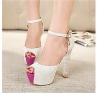 Free shipping  women pumps 2014 new product  fashion sexy  waterproof crystal high-heels women shoes
