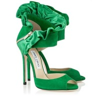 Free shipping new arrival orginal designer green suede and Satin Sandals/shoes jc zipper peep toe sandal jc women sandals