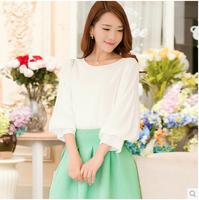 2014 spring women's lantern sleeve basic three quarter sleeve sweet top loose chiffon shirt female