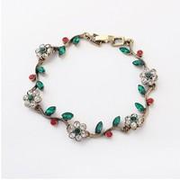 Full Rhinestone  Flower Bracelet Fashion Floral Bracelet Statement Bracelet cxt98018