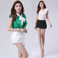 2014 spring summer new girl clothing short skirts female bust mid waist elastic waist puff  ruffle layered skirt