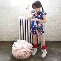 2014 new summer floral butterfly sleeve girls sports clothing set 3~7age blue/pink cotton retail children outerwear  shij203