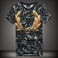 Free Shipping New 2014 Summer Men T-Shirts Givency Brand Printing Rose and peace Short sleeve Round Neck  T Shirts For Men