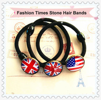 6PCS Untied Kingdom /USA Flag Themed Times Stone Hair Bands Elastic Ponytail Holder Free Shipping