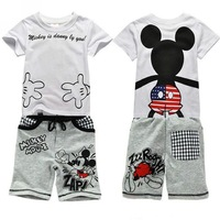 2014 mickey mouses baby boys sports clothing set 3~7age t-shirts with short pants=2pcs/set 100% cotton  free shipping shij204