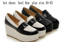 FREE SHIPPING!2014 Spring British Style Platform Pumps For W omen Plus Size Platform Wedges Boots Casual Shoes 34-43