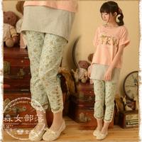 2014 summer women's elastic laciness casual pants  mori girl