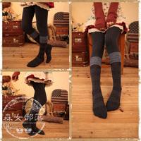 2014 spring women's color block decoration thermal socks  mori girl style