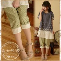 2014 women's fluid polka dot casual pants harem pants  mori girl style