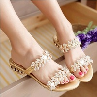 2014 summer slippers rhinestone flat heel sandals female shoes flatbottomed sweet genuine leather