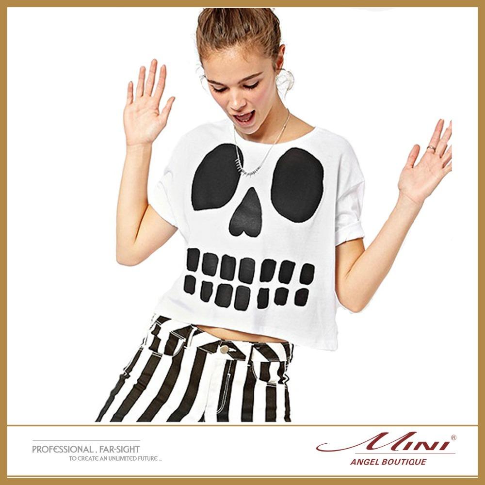 Free Shipping European and American style Women Sexy Midriff-Baring Tees Skull Printing Midriff Tops Plus Size XXL(China (Mainland))