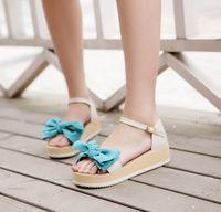 2014 sandals female women's platform wedges platform shoes bow small fresh fashion