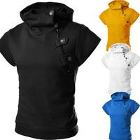Hot-selling 2014 new arrival fanshion button zipper slim men short-sleeve sweatshirt