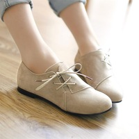 2014 lacing round toe flat heel single shoes women's flat heel fashion female shoes flatbottomed 7 beige