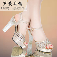 Luoman summer fashion open toe platform thick heel high-heeled shoes rhinestone paillette high-heeled fashion sandals