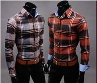 2014 new arrival spring fanshion male slim casual 100% cotton long-sleeve plaid shirt