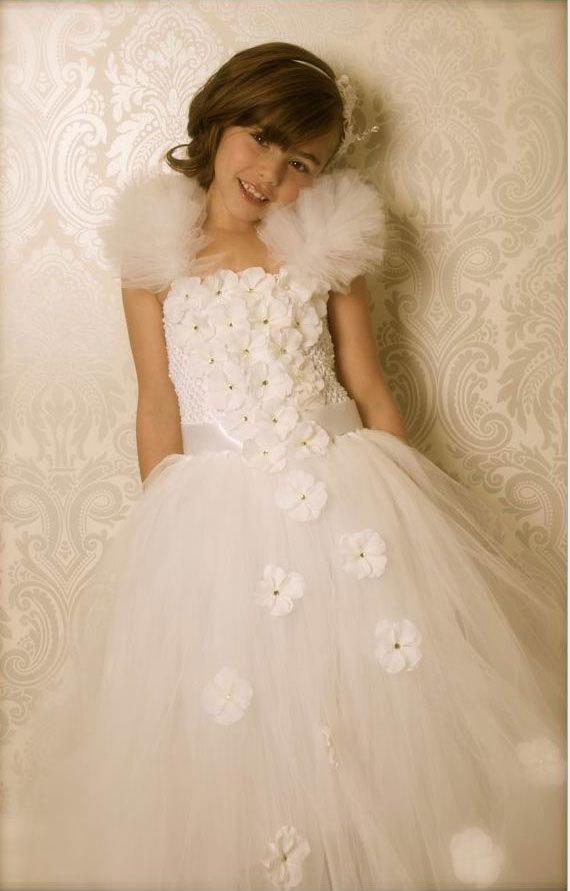 Handmade floor-length white flower girl tutu dress for photograph, wedding, birthday and party #GT14003(China (Mainland))