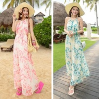 girl's summer New bohemian section of small floral chiffon halter strap dress beach resort was thin long dress