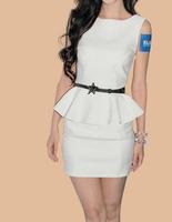 hot sale new arrival women 2014 new  slim waist formal work plus size summer dress women ruffle dresses