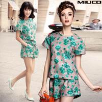 Miuco2014 fashion spring and summer women's small fresh vintage print floral print short-sleeve top shorts set