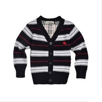 2014 New England Style Striped Design Children Clothing Outerwear  Single Breasted Sweaters Boys Sweater Free Shipping
