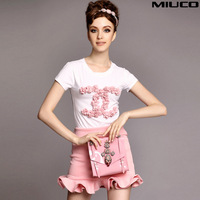 Miuco2014 fashion summer women's handmade disk flowers ruffle short-sleeve T-shirt fish tail skirt ladies set