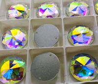 Free shipping 45pcs shiny Crystal AB Color 2 Hole Sew On 20mm Rivoli Rhinestones flat back best quality stone