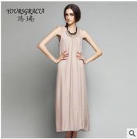 Hot Summer 2014 women's loose big size brand new round neck silk dress Mid-Calf fashion Bohemian long handselBelt dress
