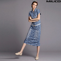 Miuco2014 fashion spring and summer women's print turn-down collar water wash denim one-piece dress full dress slim